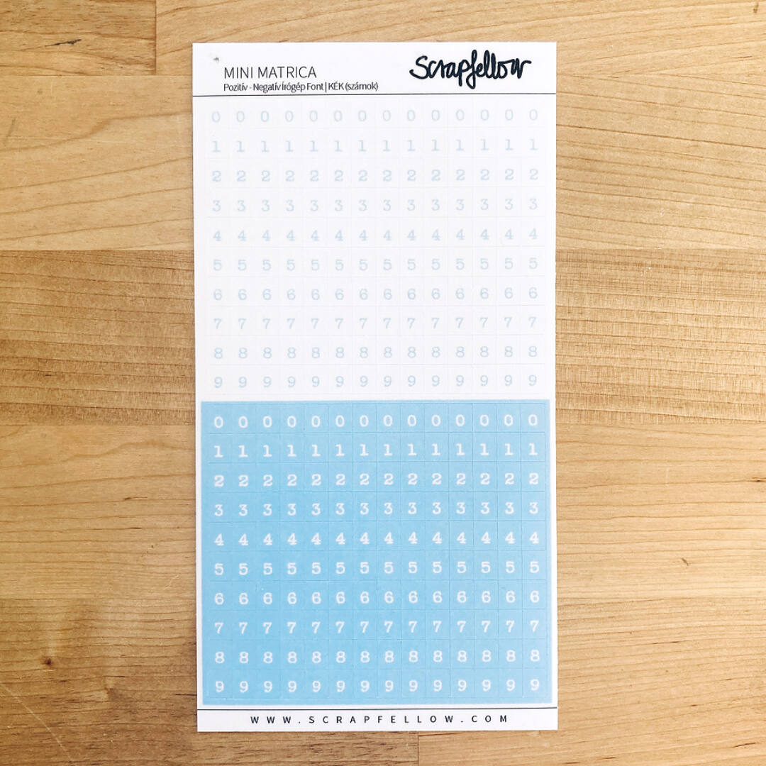 Pozitív-Negatív írógép font - SZÁMOK (kék)   Mini Matrica